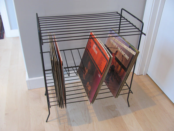 Black LP Record Rack and Phonograph Stand 1960s Made in the USA