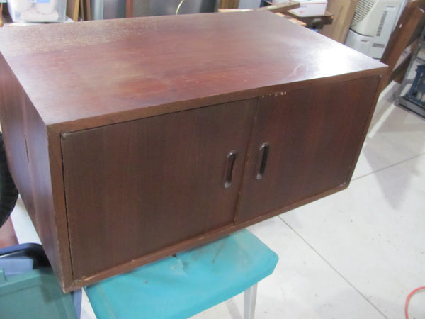 "SOLD - OMNI Products 14"" High, Two Door, Walnut Cabinet, Designed by George Nelson not CSS"