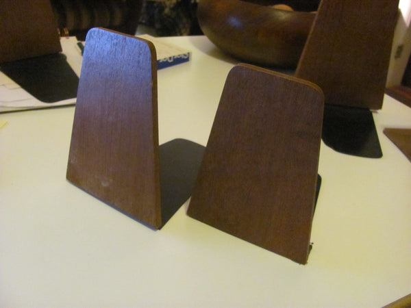 "Furnishings: Teak Bookends Mid Century Made in JAPAN. 5.25"" H x 4"" W"