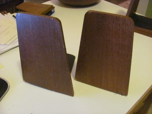 Furnishings: Teak Bookends Danish Modern Style Made in Japan by Viking