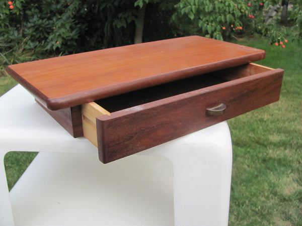 Danish Floating Teak Shelf with Drawer