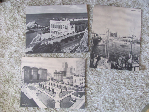 3 Vintage JUMBO Postcards of San Francisco, c. 1950