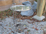 Table: Eileen Grey Chrome and Glass Adjustable Side Table  - SOLD