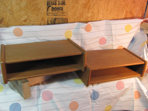Storage: Pair of Small Floating Teak Shelves - Danish