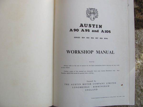 Book: 1957 Austin Motor Works Shop Manual Lot