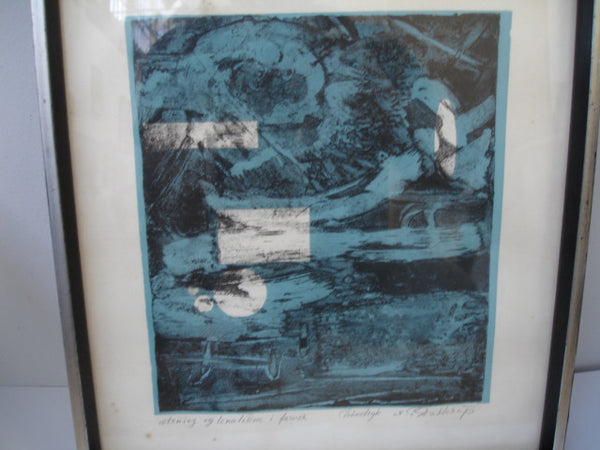 Print: Litho - Abstract Blue