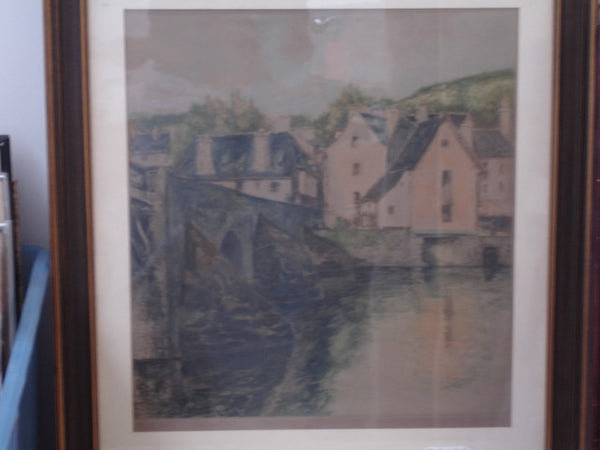 Print: Litho European Village Scene
