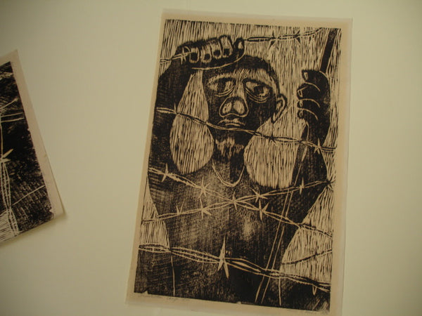 PRINT: Concentration Camp, Woodcut by Paul Pieck