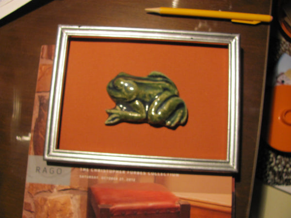 Ceramics: Margie Hughto Ceramic Frog, Mounted and Framed