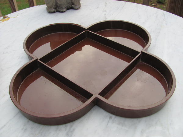 Dansk Plastic Condiment Tray, 5 Compartment, Brown ABS Plastic