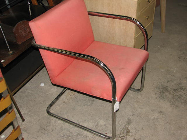 Seating: Tugendhat chair by Knoll tubular steel with tag