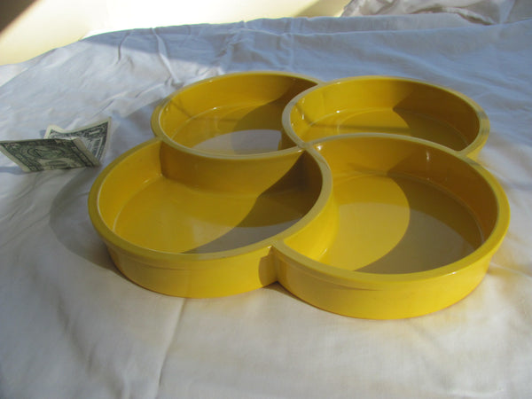Dansk Plastic Condiment Tray Yellow 4 Compartment Cloverleaf Pattern