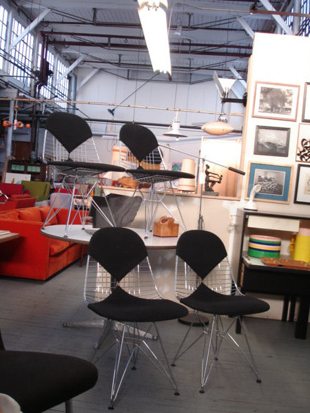 ... Pair Of Eames DKR 2 Dining Bikini Rod Wire Chairs In Black