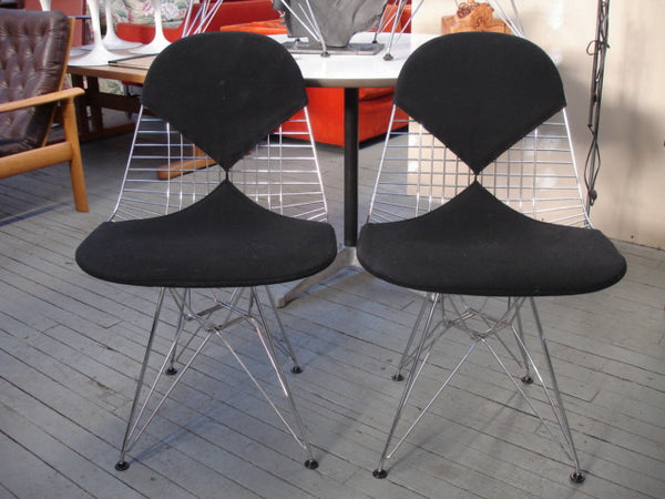 Chair: Pair of Eames DKR-2 Dining Bikini Rod Wire Chairs in Black