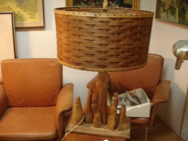 Lighting: Cedar Lamp with splint Shade  SOLD