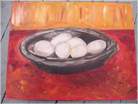 ART: Still Life of Eggs In a Bowl, o/b