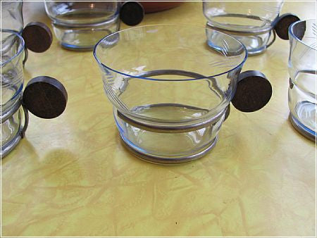 Seven glass cups w Wood and Metal Handles