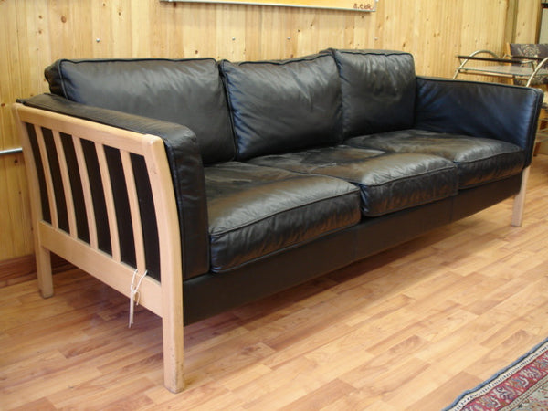 Sold  - Mogensen Style Black Leather Sofa  - SOLD