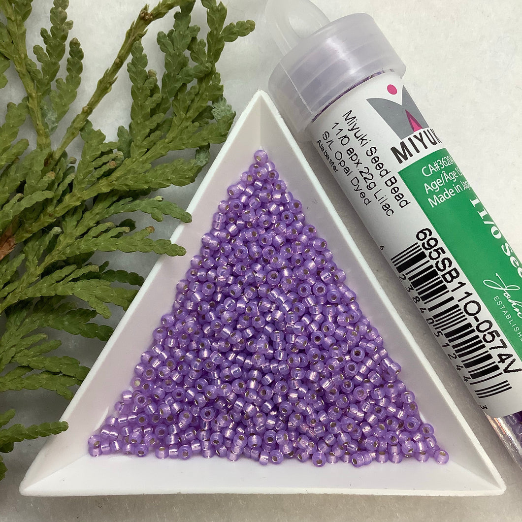 Miyuki Seed Bead 11/0 Lilac Silver Lined Opal Dyed Alabaster