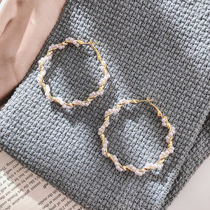 Twisted Pearl Hoop Earrings
