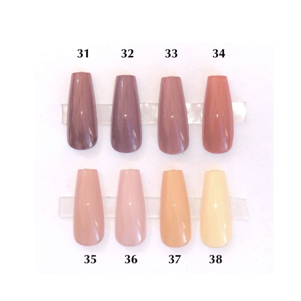 A chart showing press on nails of various nude colors such as tan, peach, light brown and dark brown.