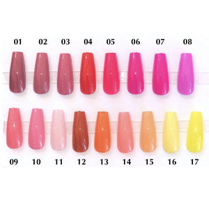 A chart showing press on nails of various warm colors such as red, orange, yellow, and pink.