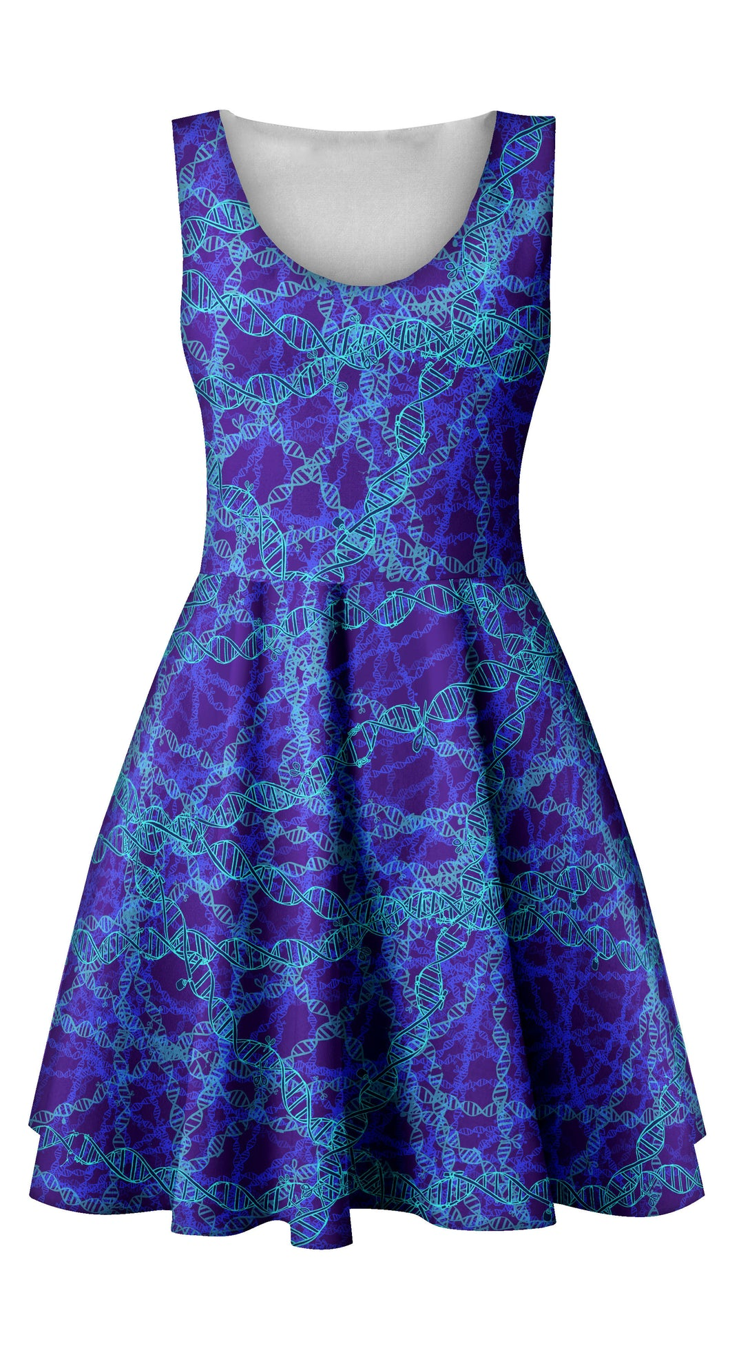 Blue gene editing midi scoop dress