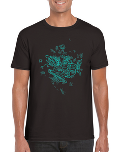 Blue secondary protein structure T-shirt - Boutique Science