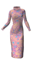 Load image into Gallery viewer, Rose Neurons Turtleneck cotton long dress - Boutique Science
