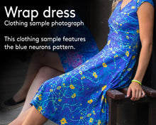 Load image into Gallery viewer, Blue neurons Cap Sleeve Wrap Dress