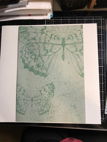 green butterfly paper slightly offset on 12x12 white textured cardstock