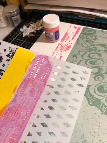 background stencil with Pink Gin acrylic paint