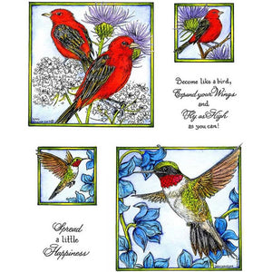 Tanager & Humming Bird Cling Mount Stamp Set