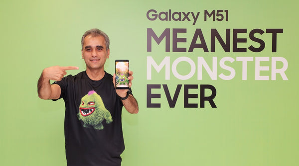 Asim Warsi, Senior Vice President, Samsung India, presenting the Galaxy M51