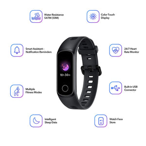 Honor Band 5i is a high-end TFT full color display fitness tracker with 50m water resistance, full screen touch and multiple fitness modes.