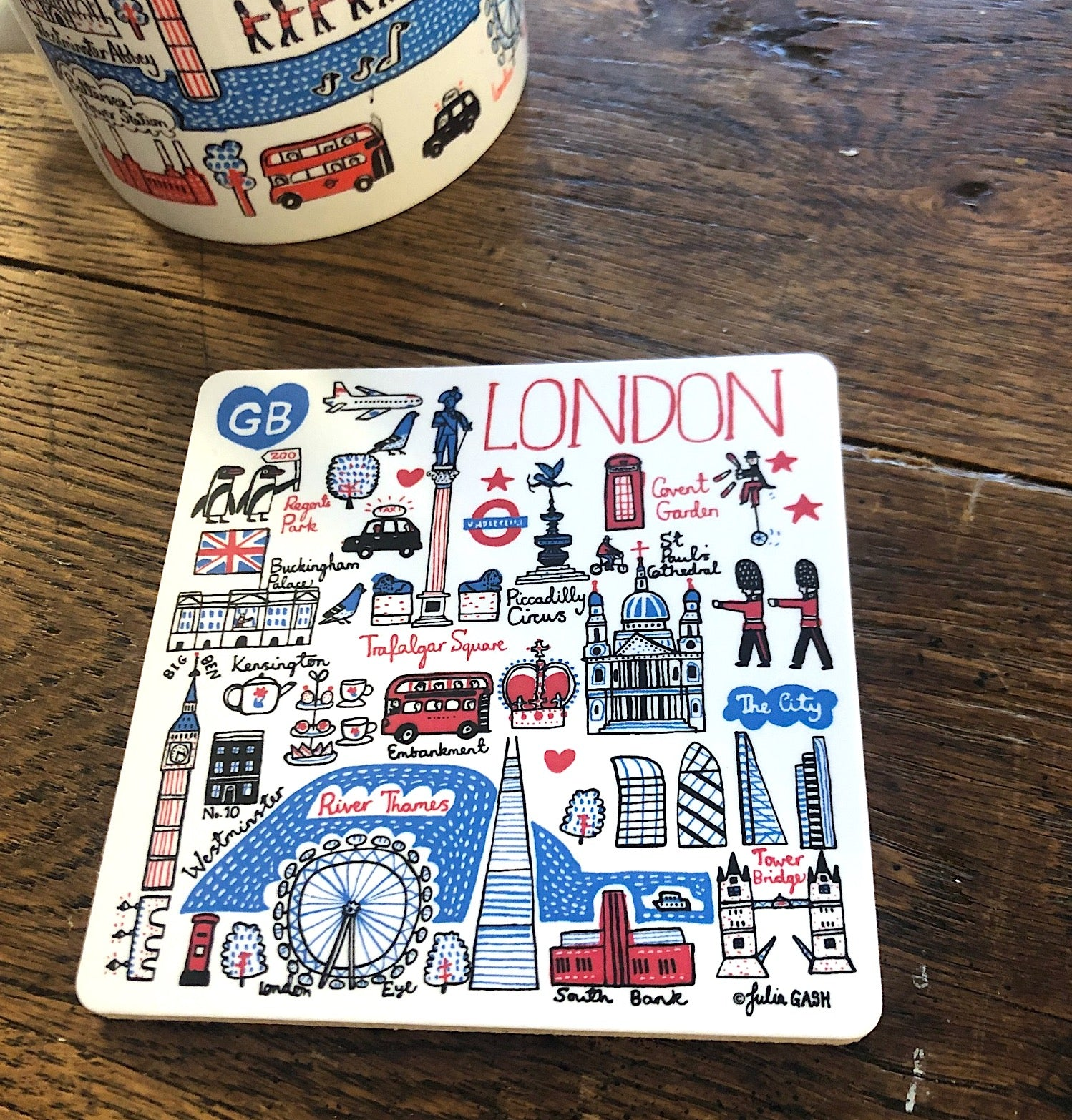 London coaster by British travel artist Julia Gash