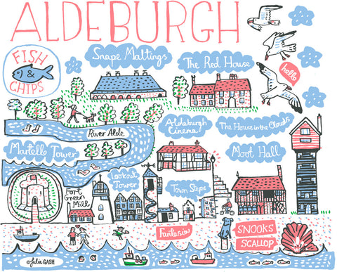 Aldeburgh, Suffolk, whimsical and contemporary art print by Julia Gash