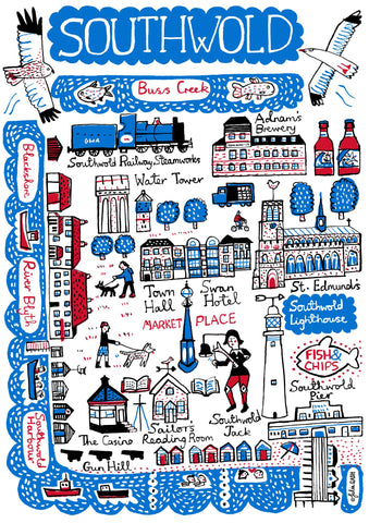 Southwold, Suffolk illustrated map and contemporary art print by British illustrator Julia Gash