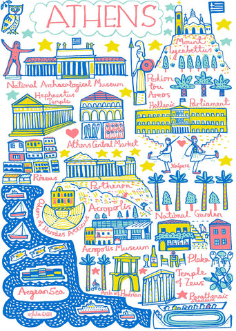 Athens, Greece, whimsical map illustration by Julia Gash