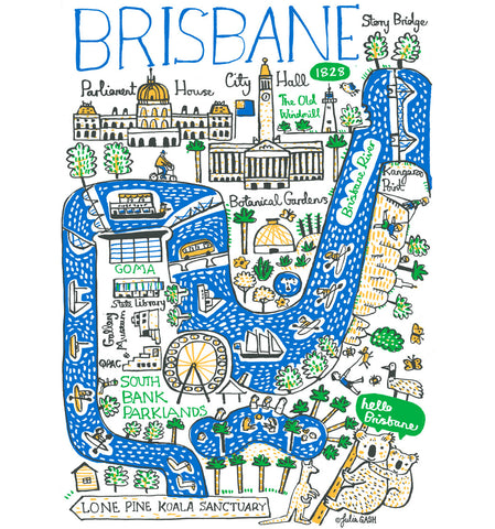 Brisbane map illustration travel art by Julia Gash