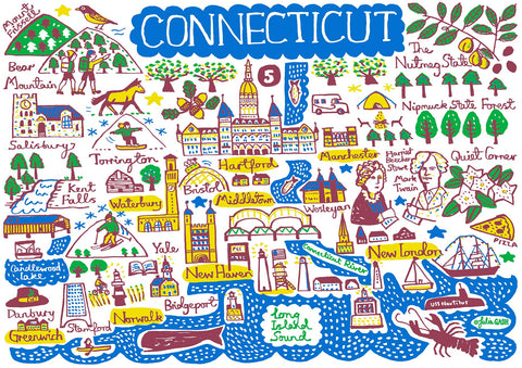 Connecticut state travel art print featuring key cities and landscapes by British map maker illustrator Julia Gash