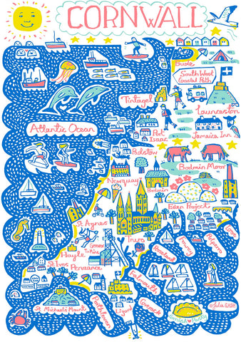 Cornwall Illustrated Art Print by British Artist Julia Gash featuring St Ives, Padstow, Newquay, Falmouth and Truro