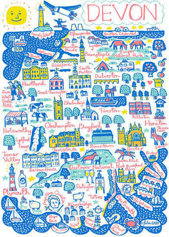 Devon Contemporary Illustrated Art Print by British artist and map maker Julia Gash