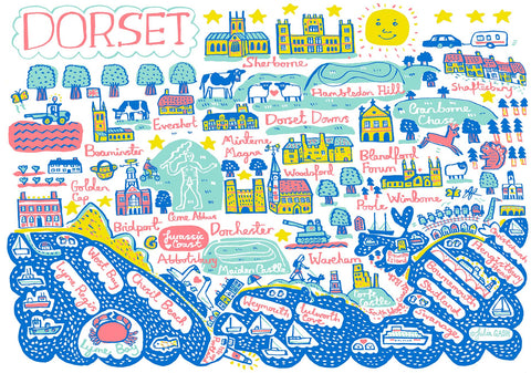 Dorset Contemporary Illustrated Art Print by British artist and map maker Julia Gash