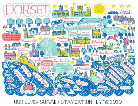 Dorset personalised art print by Julia Gash featuring Weymouth, Lyme Regis, Dorchester and Poole
