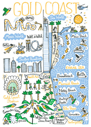 Gold Coast Australia travel illustration print by Julia Gash