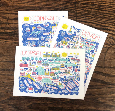 Mini Art Prints featuring the landscape and cities of Dorset, Devon and Cornwall by Julia Gash