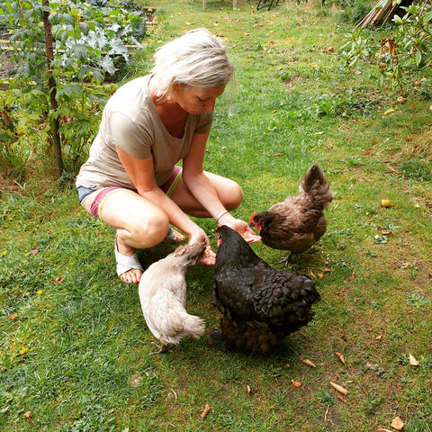Julia Gash with her chickens