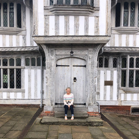 Julia Gash in Lavenham, Suffolk, seeking inspiration for her whimsical, map illustration art print of this English region