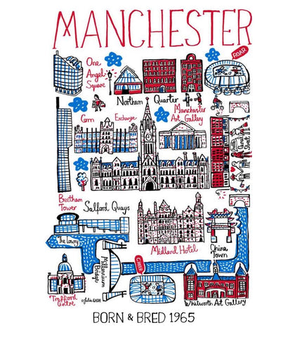 Manchester Fathers Day Travel Art Print Gift by Julia Gash